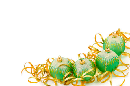 Christmas balls and ribbon isolated on white background photo