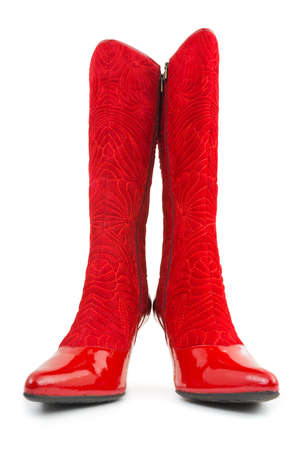 Red woman boots isolated on white background Stock Photo - 5768696