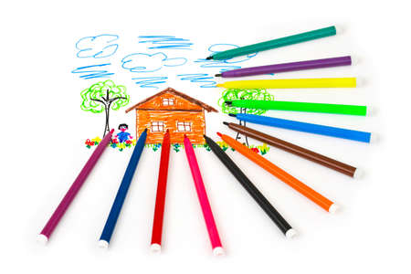 child's drawing: Childs drawing and pens - abstract art background