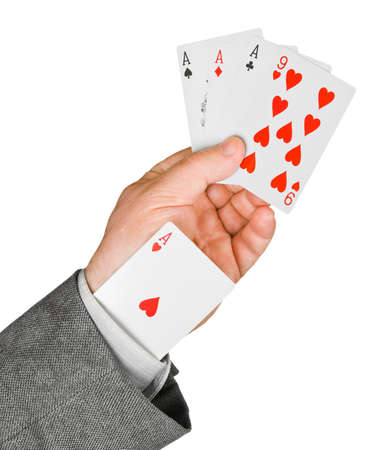 Hand and card in sleeve isolated on white background photo