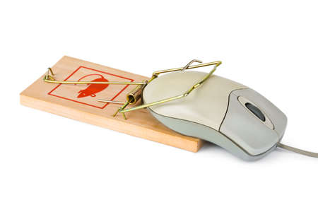 Mousetrap and computer mouse isolated on white background photo