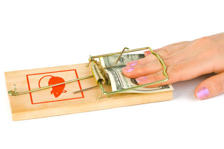 Hand and mousetrap with money isolated on white background Stock Photo - 5878102