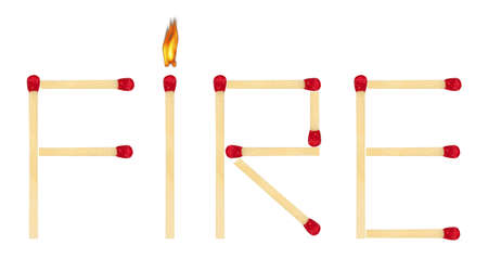 Word Fire made of matches isolated on white background photo
