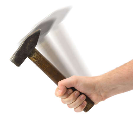 Hand with hammer isolated on white background photo