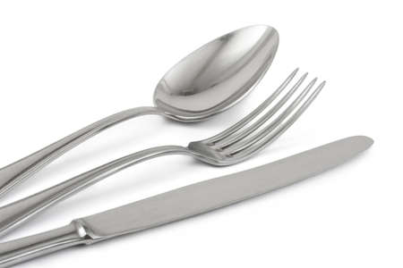 Fork, knife and spoon isolated on white background Stock Photo - 5906825
