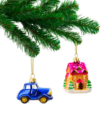 adorning: Christmas tree and toys isolated on white background