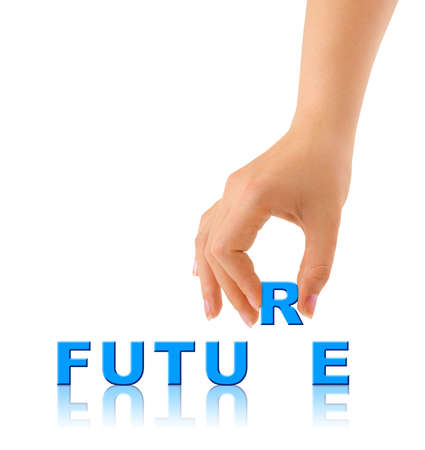 aspirations ideas: Mano y la palabra futuro - concepto de negocio, aislado sobre fondo blanco