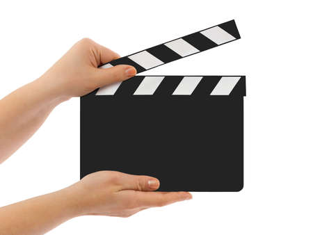 clap: Blank clapboard in hands isolated on white background