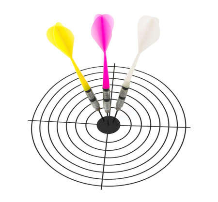 Three arrows darts and target isolated on white background photo