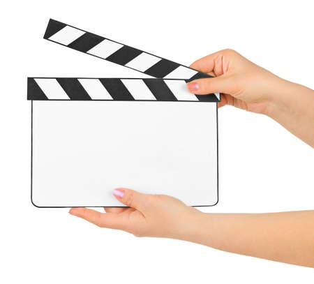 Blank clapboard in hands isolated on white background photo
