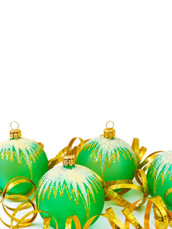 Christmas balls and ribbon isolated on white background Stock Photo - 5988673