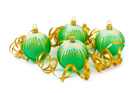 Christmas balls and ribbon isolated on white background Stock Photo - 6010668