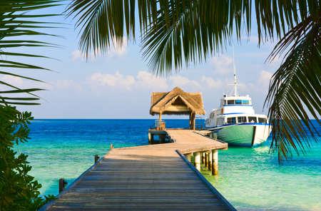 yachten: Yacht festgemachten Schuss durch eine �ffnung in den B�umen Lizenzfreie Bilder