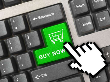 Computer keyboard with blue shopping key - internet concept Stock Photo - 6067298