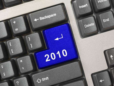 Computer keyboard with 2010 key - holiday concept photo