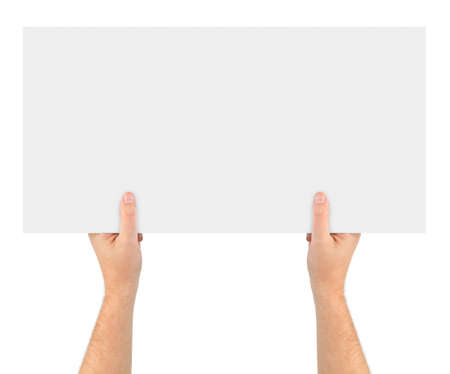 Hands and paper banner isolated on white background photo