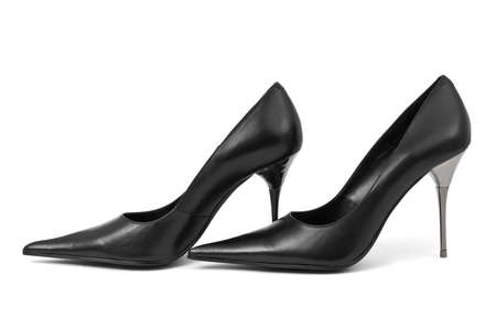 Black woman shoes isolated on white background Stock Photo - 6077432