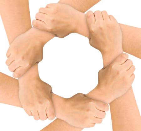 solidaridad: Manos Unidas aisladas sobre fondo blanco  Foto de archivo