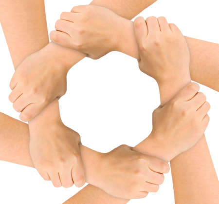 strength in unity: United hands isolated on white background