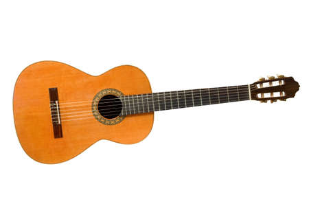 Classical acoustic guitar isolated on white background photo