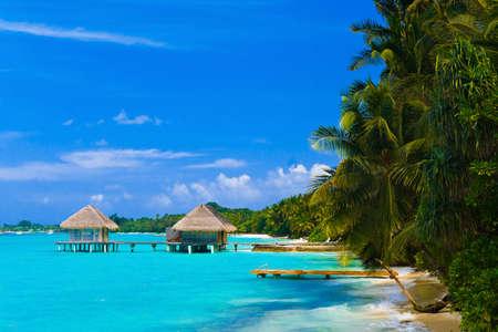 Spa salon on beach of tropical island - healthcare background photo