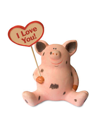 Funny pig with heart I Love You!, isolated on white background photo