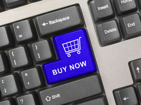 Computer keyboard with blue shopping key - internet concept Stock Photo - 6275930