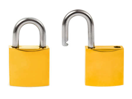 Closed and opened locks isolated on white background photo