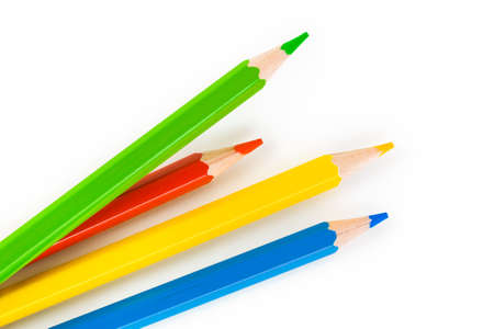 pencil and paper: Multicolored pencils isolated on white background