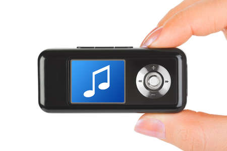 Mp3 player in hand isolated on white background photo