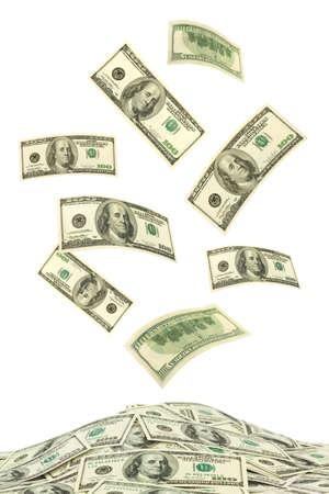 money box: Falling money isolated on white background Stock Photo