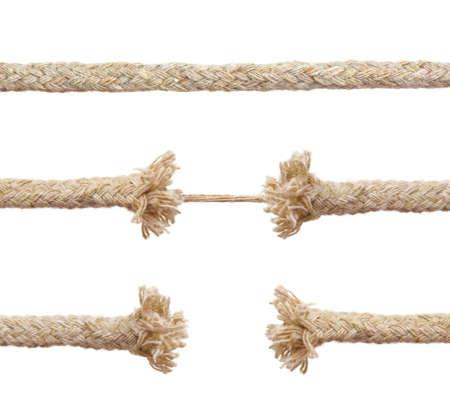 toughness: Set of ropes isolated on white background Stock Photo