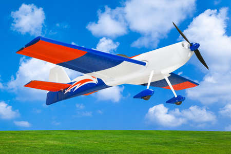rc: RC plane on sky background 스톡 사진