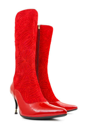 Red woman boots isolated on white background Stock Photo - 6330903