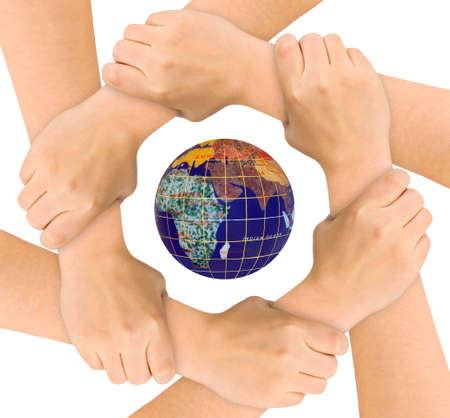 world peace: Hands and globe isolated on white background