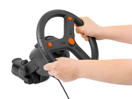 Computer steering wheel and hands isolated on white background Stock Photo - 6408846
