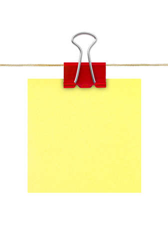 Yellow post-it note paper isolated on white background photo