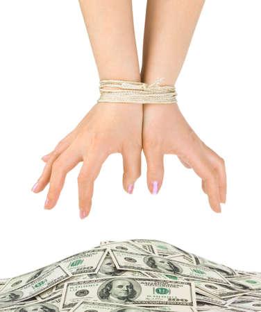 Geld und gebundenen h�nde isoliert auf wei�em Hintergrund