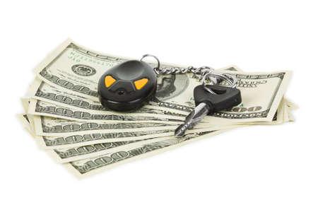 Car keys and money isolated on white background Stock Photo - 6465162