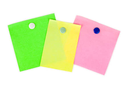 Multicolored note paper isolated on white background photo