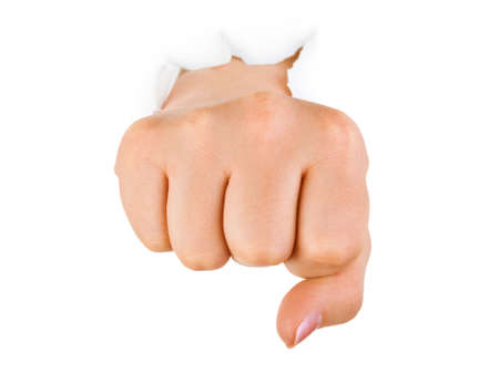 Fist punching paper isolated on white background Stock Photo - 6520968
