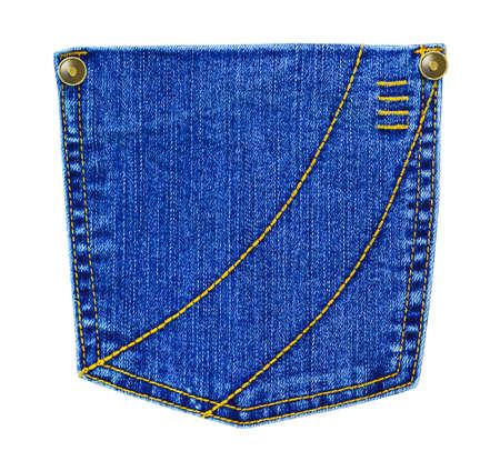 Jeans pocket isolated on white background photo