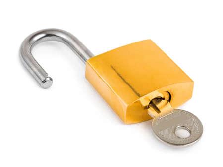 Opened lock and key isolated on white background Stock Photo - 6563259