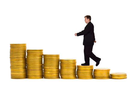 Businessman on money staircase isolated on white background photo