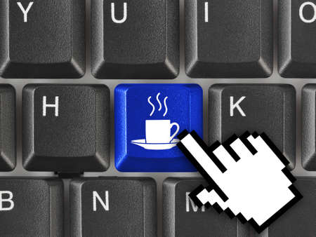 java: Computer keyboard with coffee key - business concept