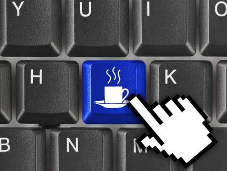 office break: Teclado de ordenador con clave de caf� - concepto de negocio