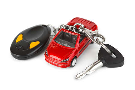 Toy car and keys isolated on white background Stock Photo - 6563316