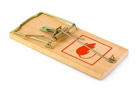 Mousetrap isolated on white background photo