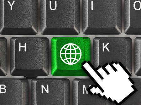 Computer keyboard with Earth key - communication background photo
