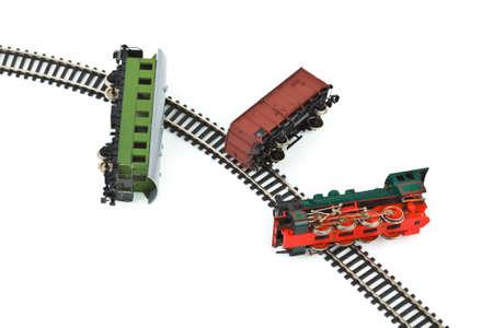Crash toy train isolated on white background photo